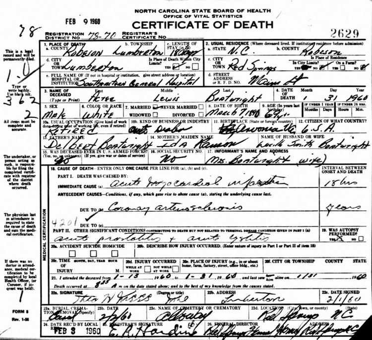 Acree Lewis Boatwright Death Certificate: