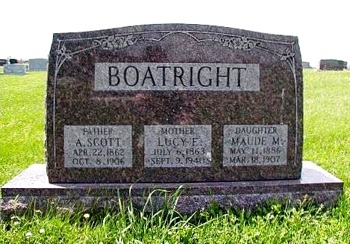 Alexander Scott Boatright and Lucy Emeline Carr Gravestone
