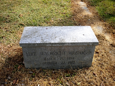 Alice Pendleton Boatwright Williamson Gravestone