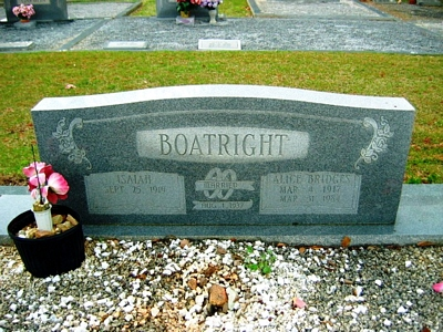 Alice Bridges Boatright Gravestone