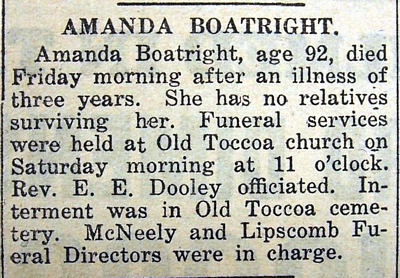 Amanda Boatright Obit