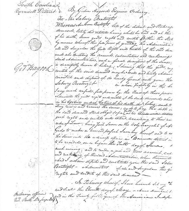 Ambrose Boatwright Letter of Administration