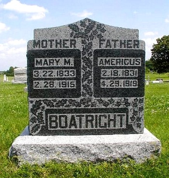 Americus Daniel Boatright and Mary Mariah Omohundro Gravestone