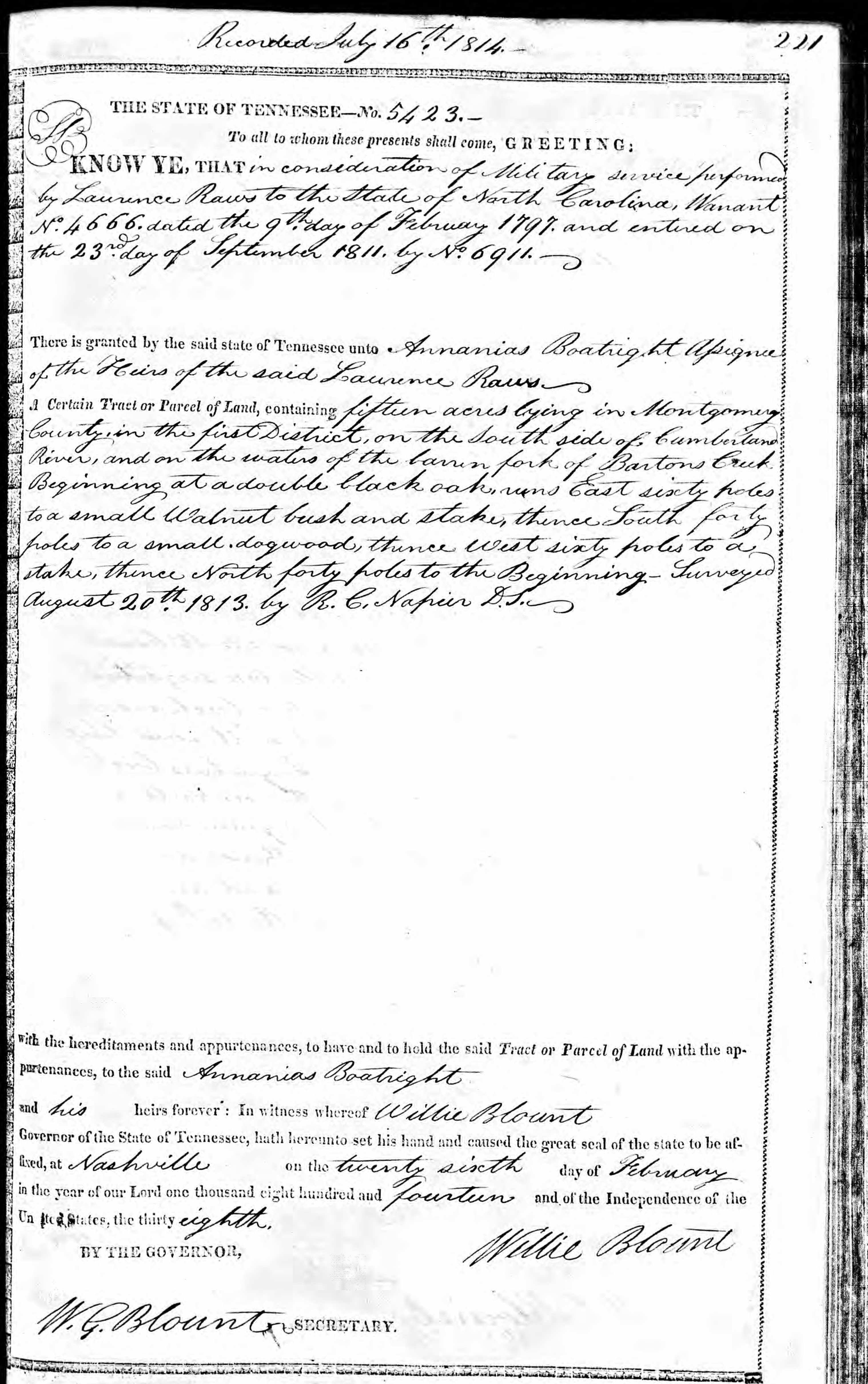 Ananias Boatwright Land Record 1814: