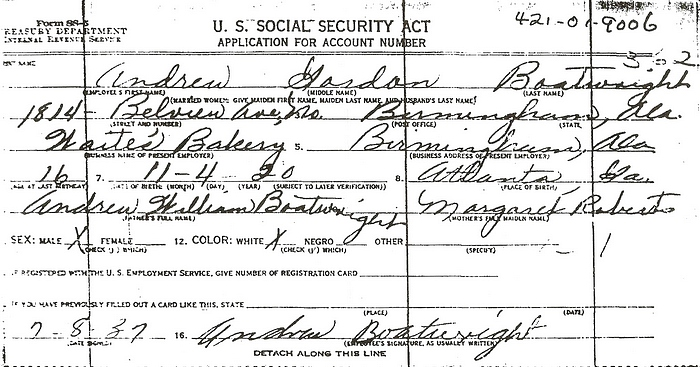 Andrew Gordon Boatwright Social Security Application:
