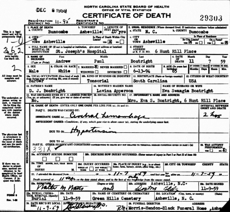 Andrew Paul Boatright Death Certificate: