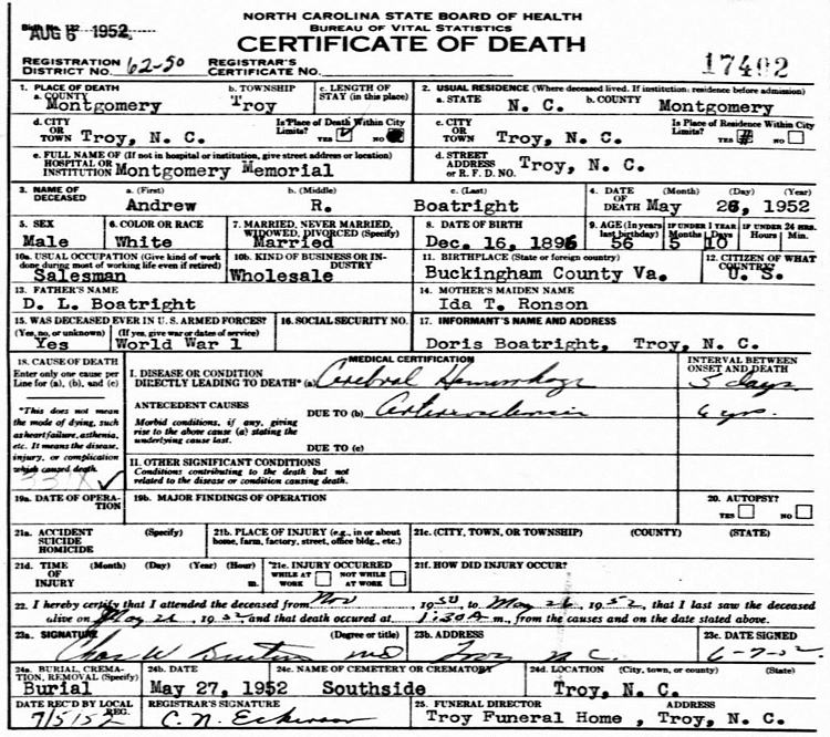 Andrew Rex Boatwright Death Certificate: