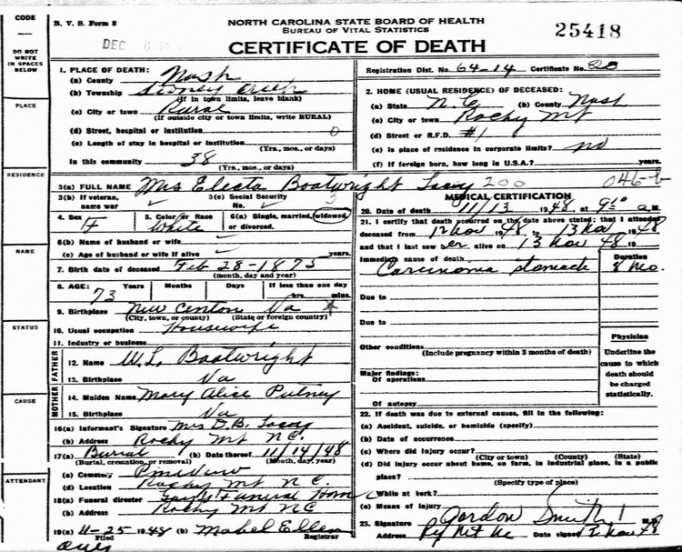 Ann Electra Boatwright Lacy Death Certificate:
