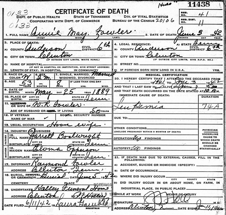 Annie May Boatright Fowler Death Certificate: