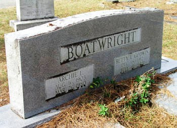 Archie Lee and Betty L. Godwin Boatwright Gravestone