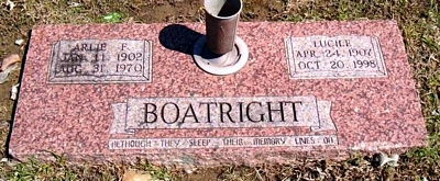 Arlie F. and Lucile Nolen Boatright Marker: