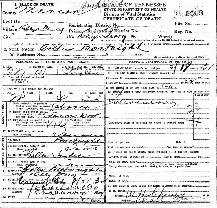 Arthur Boatright Death Certificate: