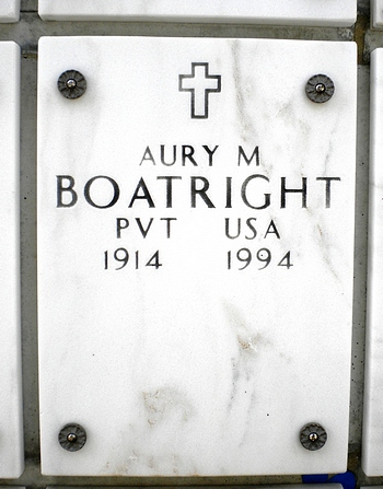 Aury Manning Boatright Gravestone: