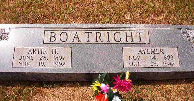 Aylmer Weaver Boatright and Artie Stone Gravestone