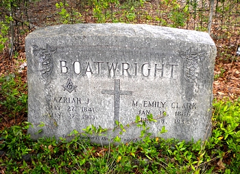 Azariah John Boatwright and Mary Emily Clark Gravestone