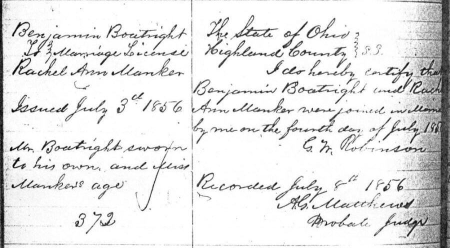 Benjamin Boatwright Marriage Record: