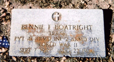Bennie F. Boatright Gravestone