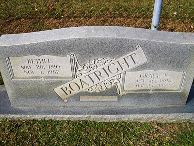 Bethel and Mattie Grace Brazzeal Boatright Gravestone