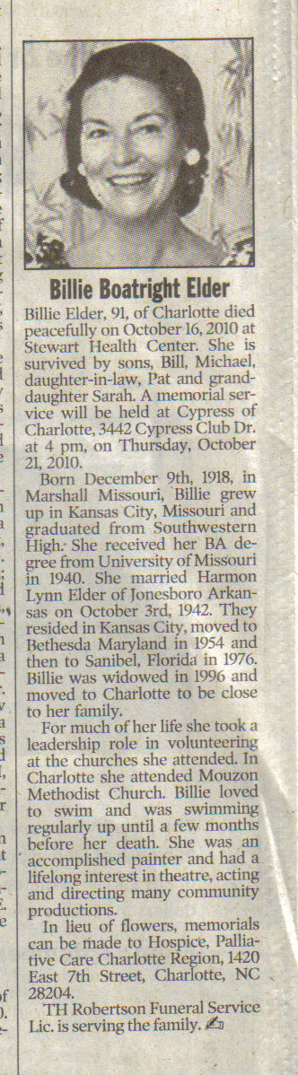 Mary Billie Boatright Elder Obit