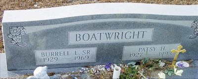 Burrell Lester and Patsy Ruth Hodges Boatwright Gravestone