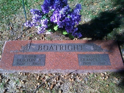 Burton Benjamin and Frances Verl Hill Boatright Gravestone