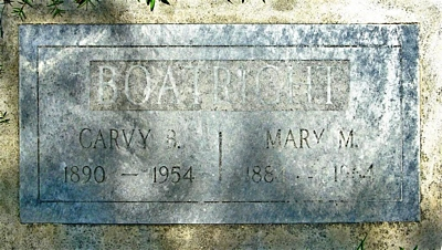 Carvy Burnard and Mary M. Boatright Gravestone