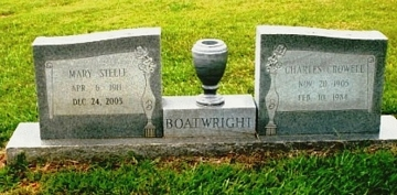 Charles Crowell Boatwright and Mary Ella Steele Gravestone