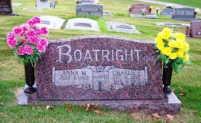 Charles Fay and Anna Margaret Hopper Boatright Gravestone