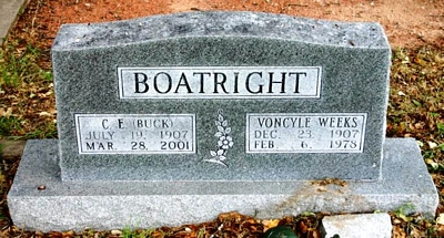 Clarence Edward Buck Boatright and Voncyle Weeks Gravestone