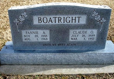 Claude Obern and Fannie Alice Smith Boatright Gravestone
