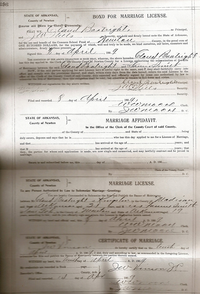Claude Obern Boatright and Fannie Alice Smith Marriage License