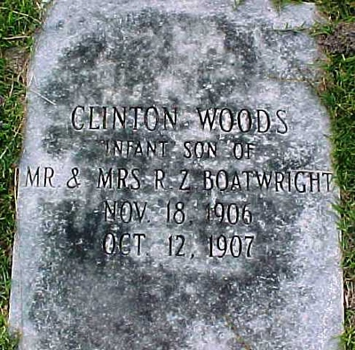 Clinton Woods Boatwright Gravestone