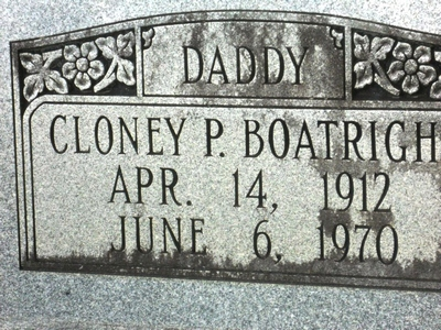 Cloney P. Boatright Gravestone