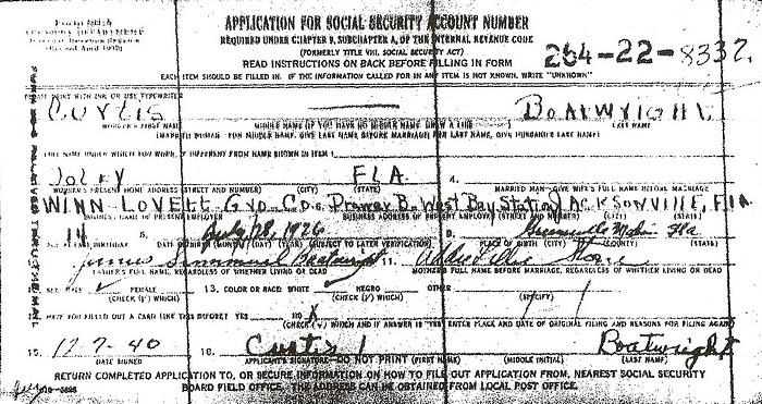 Curtis Boatwright Social Security Application:
