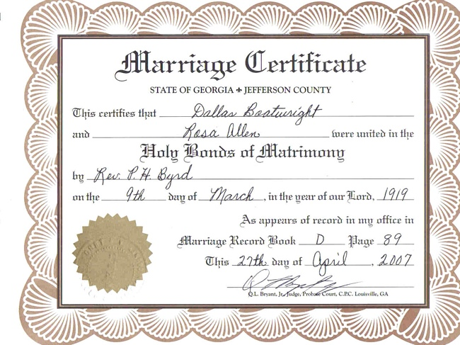 Dallas Boatwright and Rosa Allen Marriage Certificate