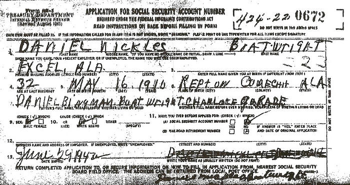 Daniel Nickles Boatwright Social Security Application: