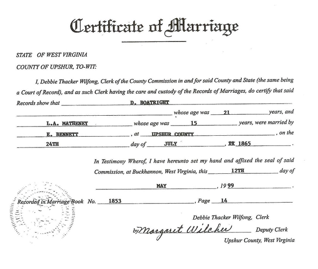 Daniel Rafe Boatwright and Lydia Ann Matheney Marriage Certificate
