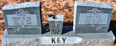 Dona Mae Boatright and Ordie K. Key Gravestone