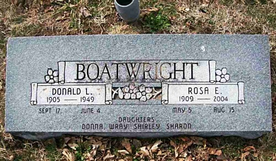 Donald Leroy and Rosa Elisa Dubach Boatwright Gravestone