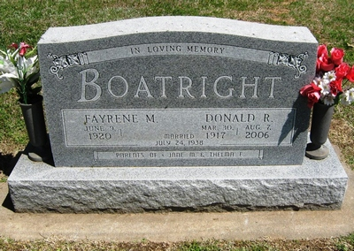 Donald Russell and Fayrene Marie Priest Boatright Gravestone