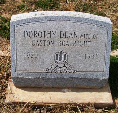 Dorothy Dean Fishel Boatright Gravestone