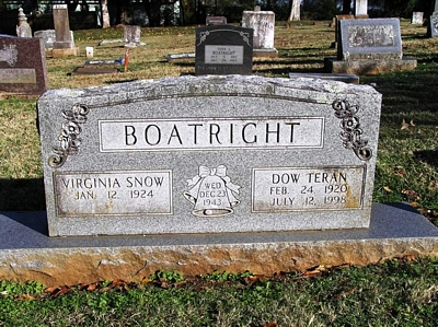 Dow Teran and Virginia M. Snow Boatright Gravestone