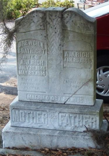 Drucilla Boatright and Andrew Jackson Rich Gravestone