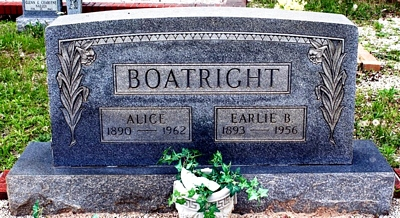 Early Benjamin and Mary Alice Williams Boatright Gravestone