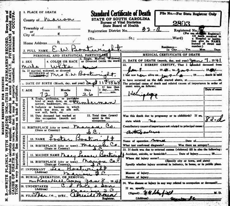 Edward Whipley Boatwright Death Certificate: