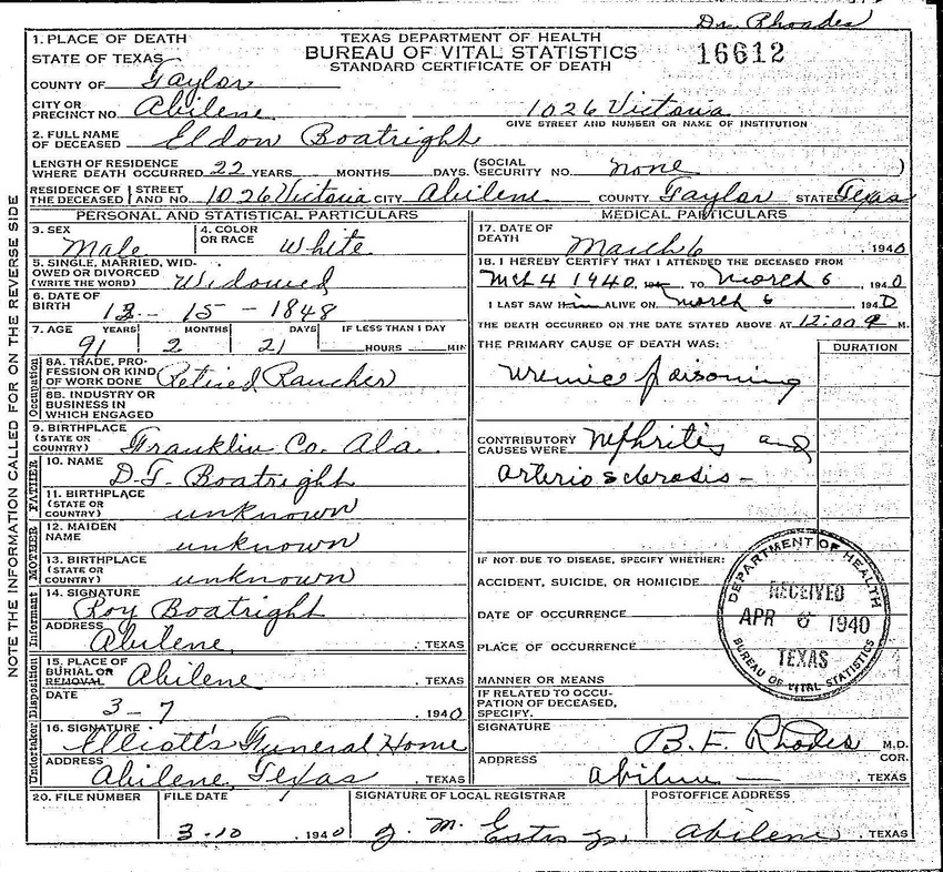 Eldon Boatright Death Certificate: