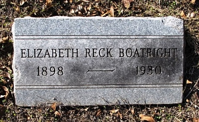 Elizabeth Christine Reck Boatright Gravestone