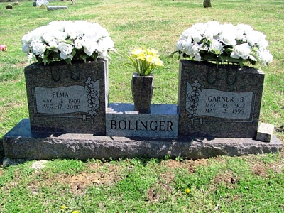 Elma Boatright and Garner Bum Bolinger Gravestone: