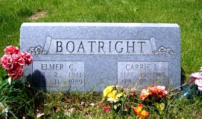 Elmer Clarence and Carrie L. Sutton Boatright Gravestone