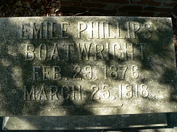 Emile Phillips Boatwright Gravestone